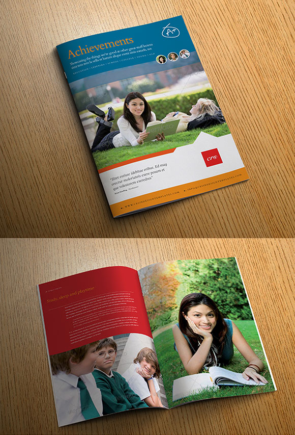 InDesign achievements brochure template cover preview