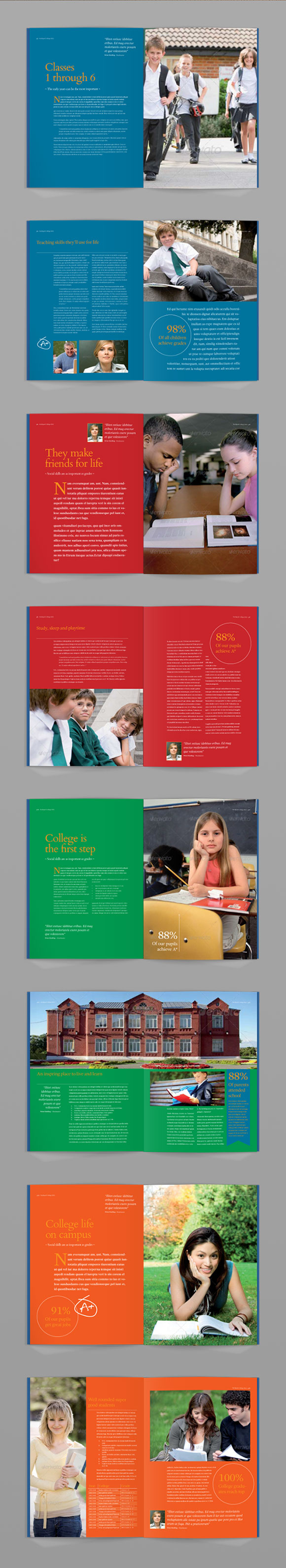 InDesign achievements brochure template page preview