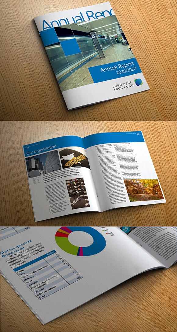 InDesign annual report template preview