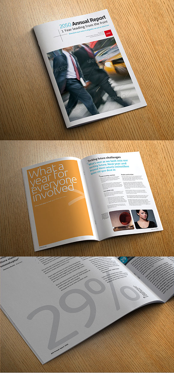 InDesign annual report template cover preview