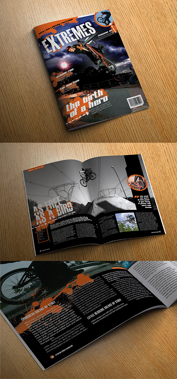 InDesign extreme magazine template cover preview