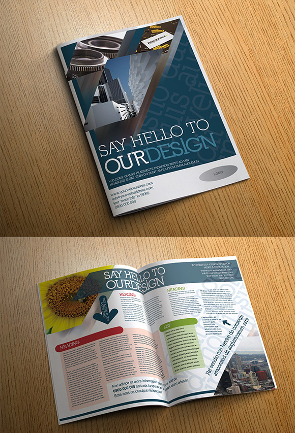 InDesign Four page corporate brochure template cover preview