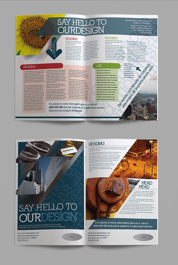 InDesign four page corporate brochure template content page preview