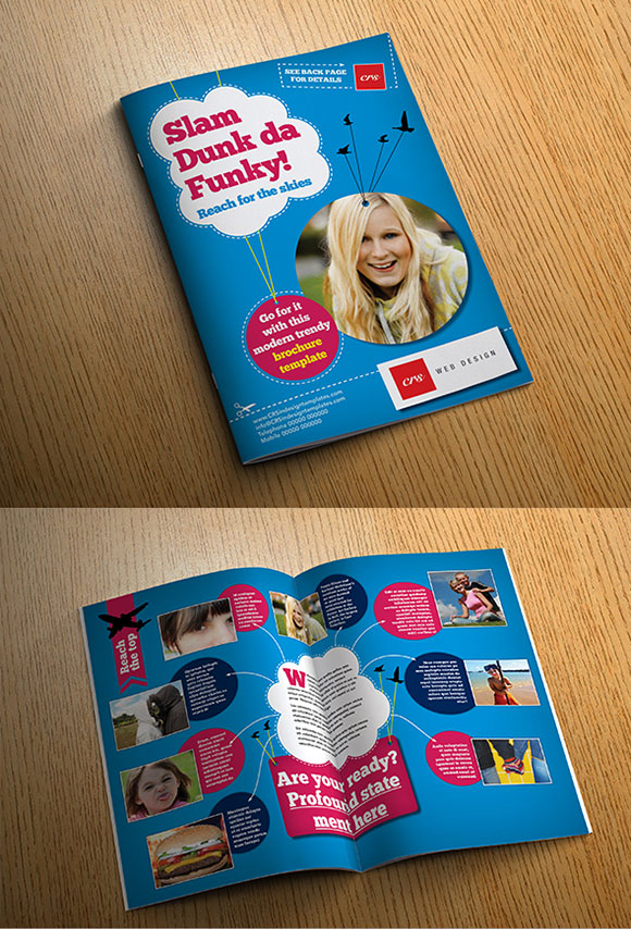 InDesign funky brochure template cover preview