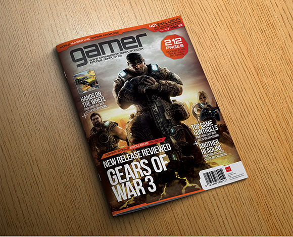 Gamer InDesign magazine page preview
