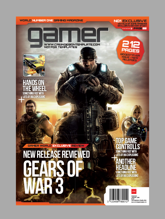 Gamer InDesign magazine cover preview