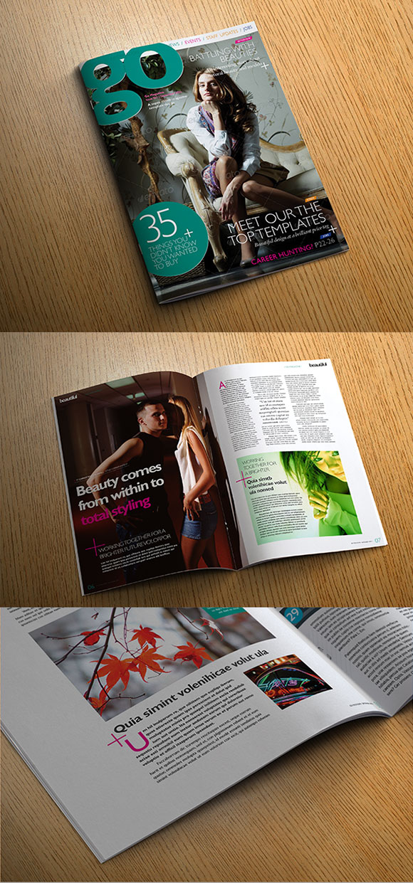 InDesign go creativity magazine template cover preview