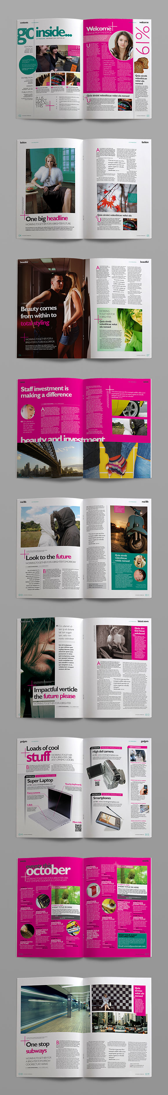 InDesign go creativity magazine template page preview