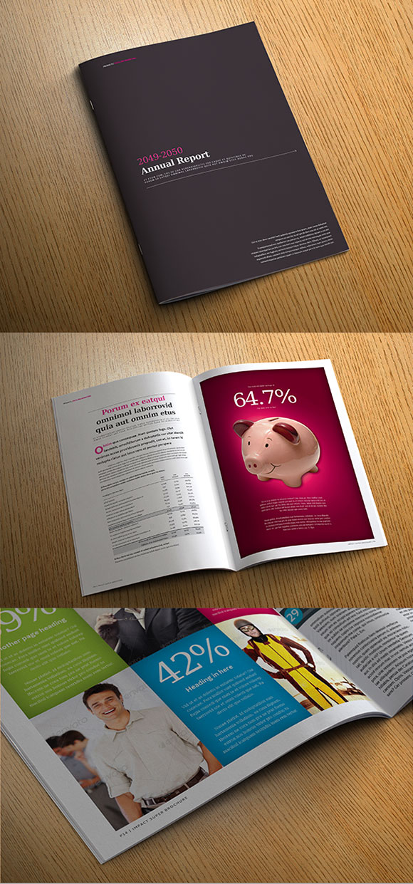 InDesign impact annual report template cover preview