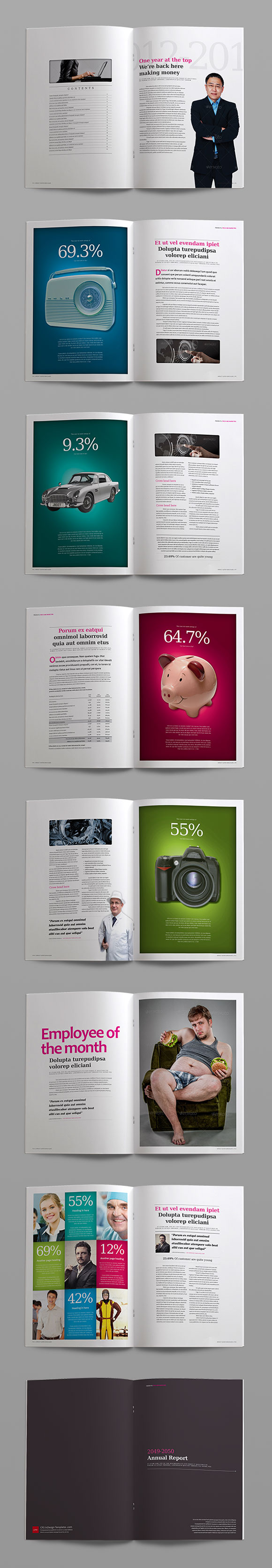 InDesign impact anual report template page preview