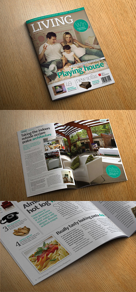 InDesign lifestyle magazine template preview