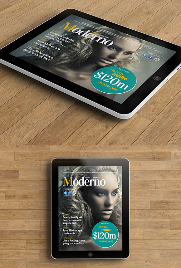 InDesign moderno ipad magazine template cover preview