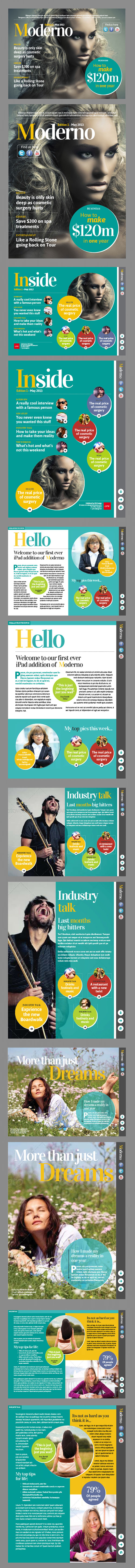 InDesign moderno ipad magazine template page preview
