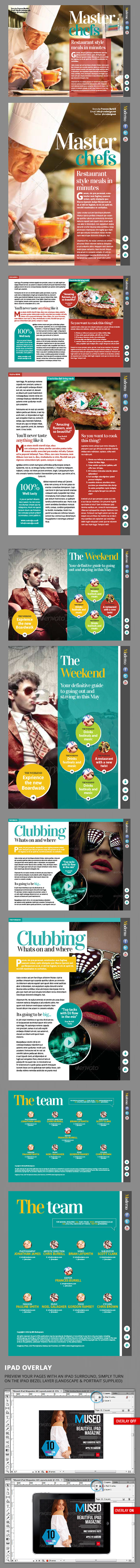 InDesign moderno ipad magazine template page previews