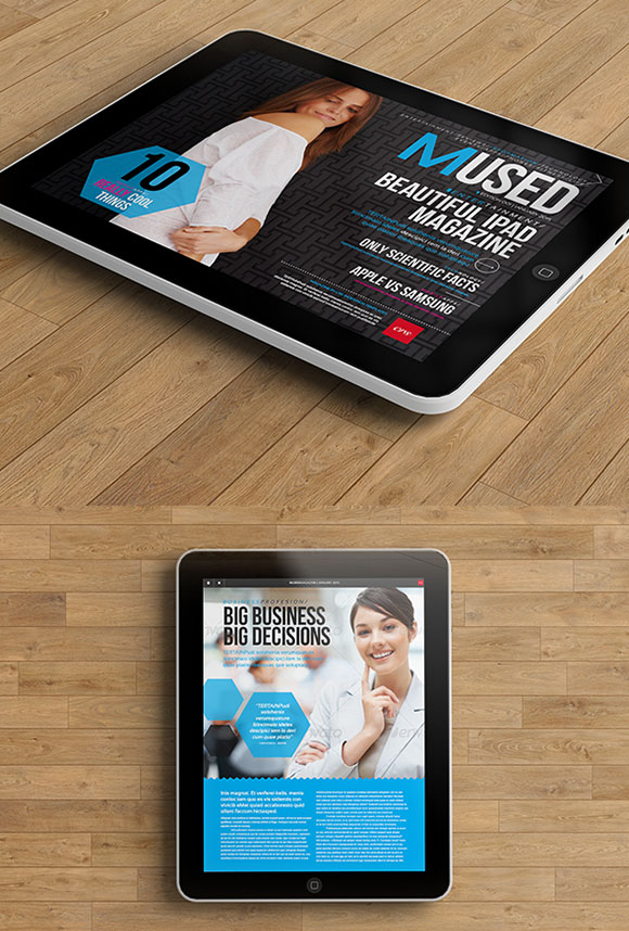 InDesign Mused iPad Magazine template cover preview