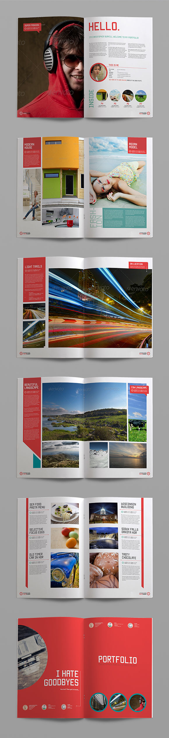 Sleek photo album indesign portfolio template crs for Free indesign portfolio layout templates