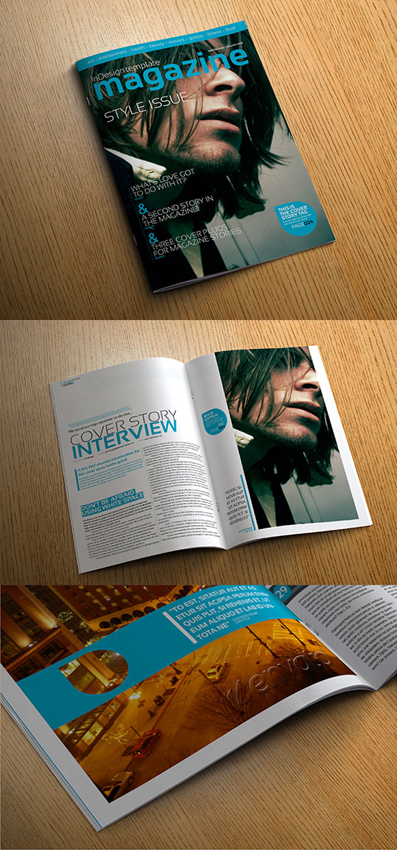 InDesign Stylish Magazine Template cover preview