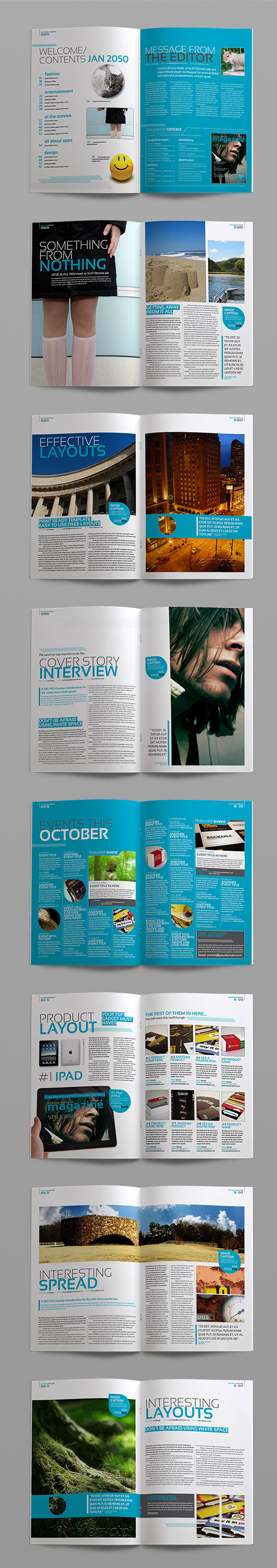 InDesign stylish magazine template page previews