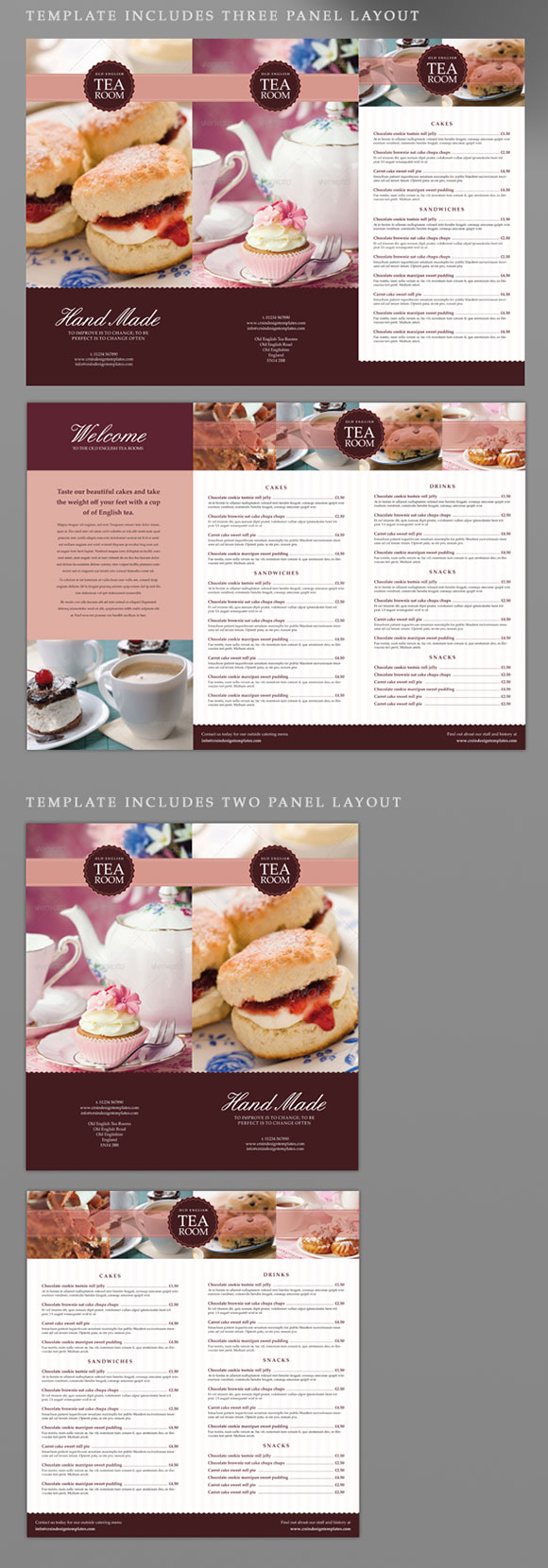 tea room coffee shop indesign menu template crs indesign templates. Black Bedroom Furniture Sets. Home Design Ideas