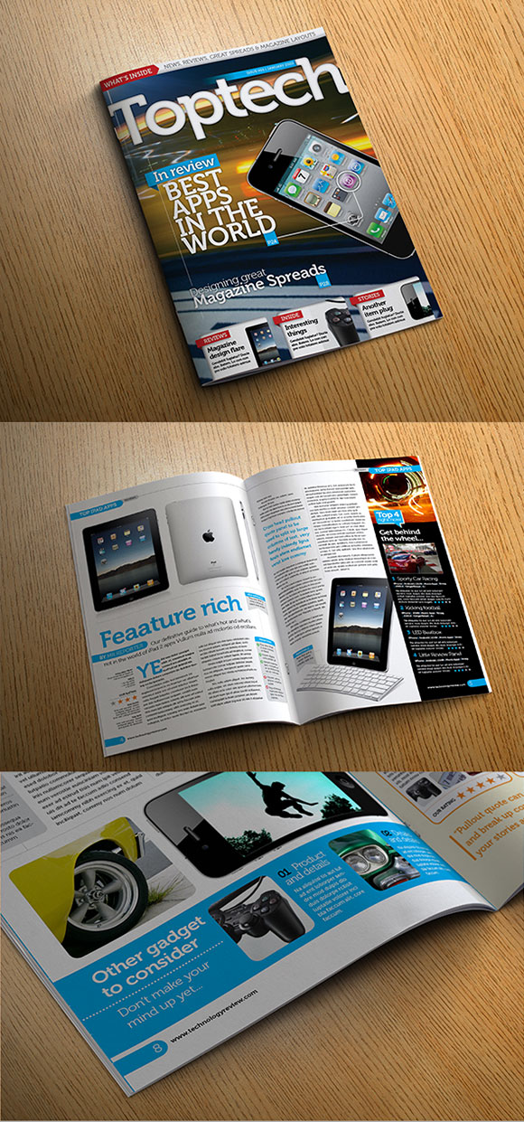 InDesign Tech Reviews magazine template cover preview