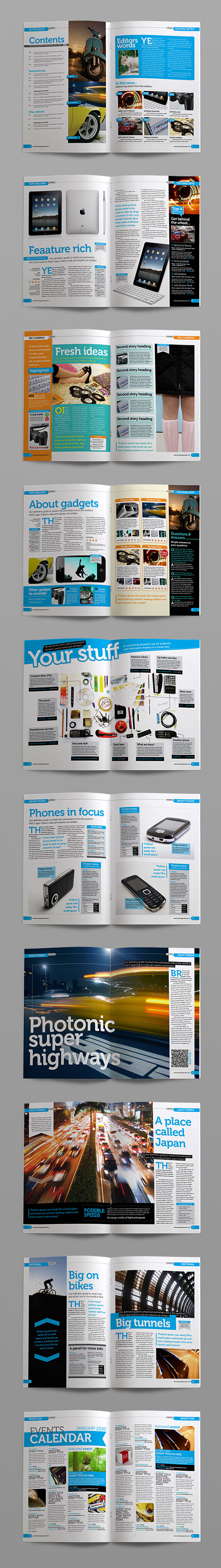 InDesign Tech Review magazine template page previews