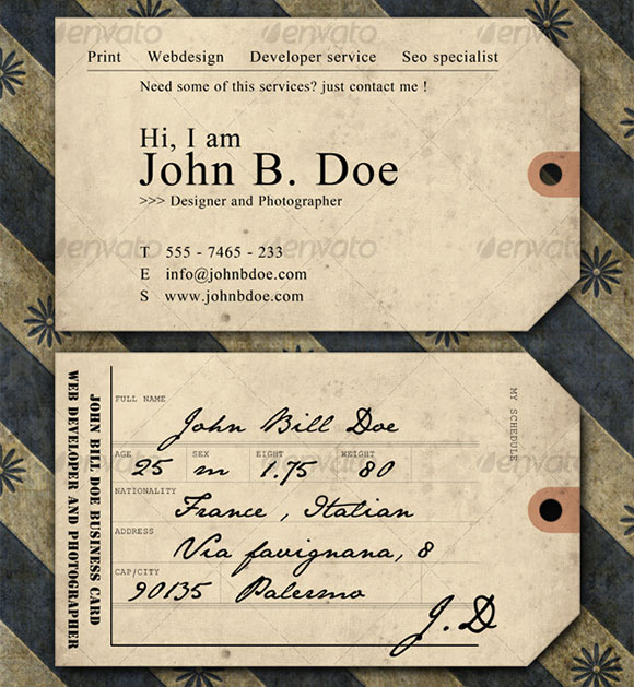 Vintage ticket Business Card preview