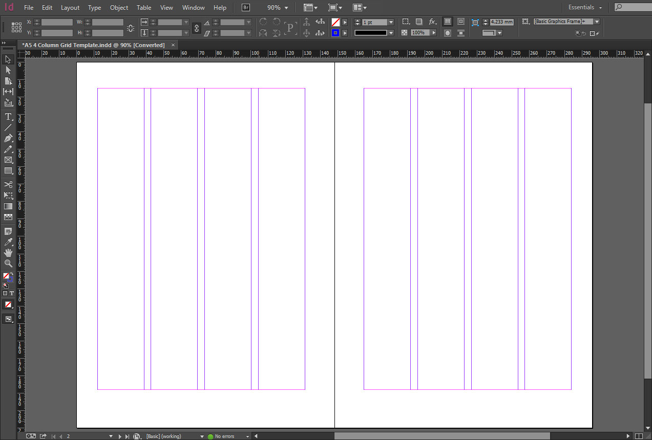 Free indesign a5 4 column grid template crs indesign for 4 column brochure template