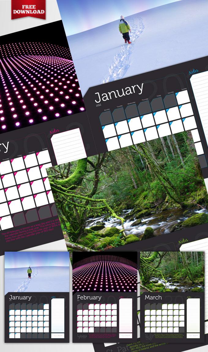 Free A3 wall calendar template