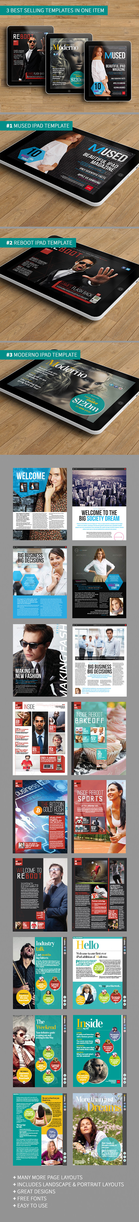iPad magazine template bundle page preview
