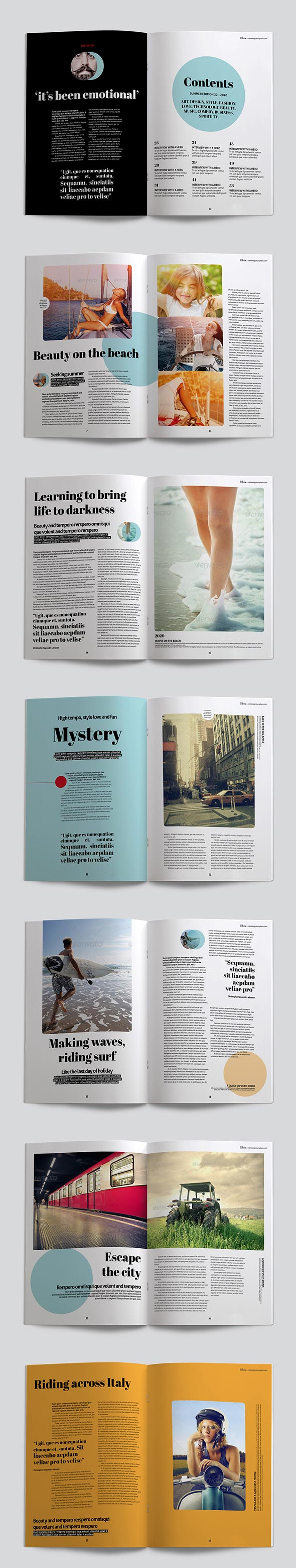 Bloom magazine template page previews