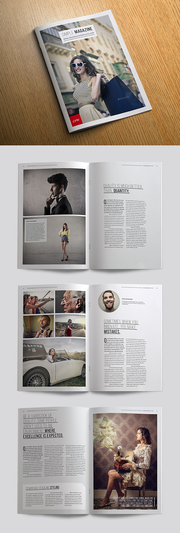 Simple free magazine template preview
