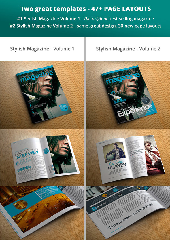Stylish magazine template bundle preview covers