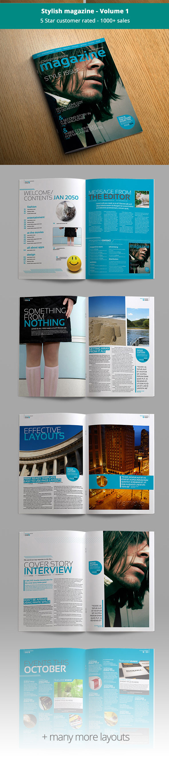 Stylish magazine template bundle preview volume one