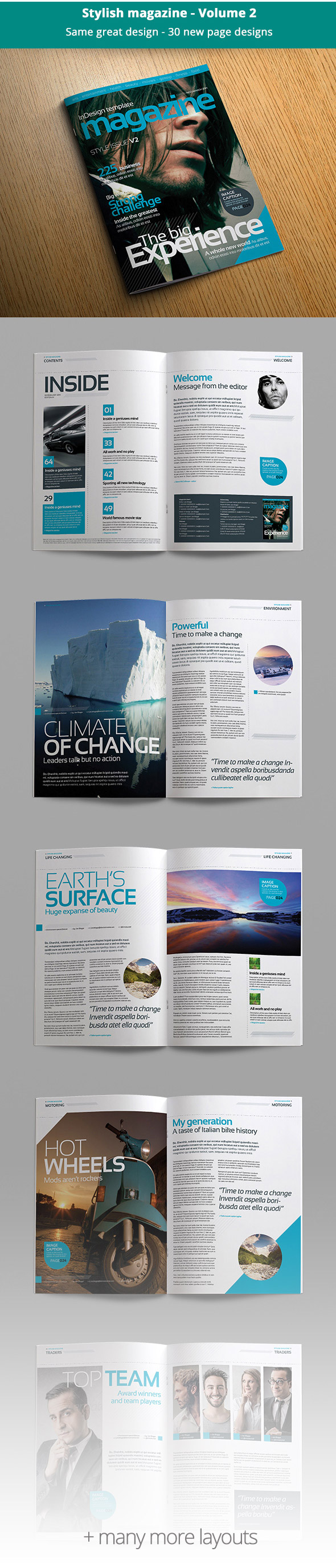 Stylish magazine template bundle preview spreads